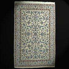 Fin Naain Orient-Teppich avec Soie Noué à la Main Laine 204x130 Cm Beige