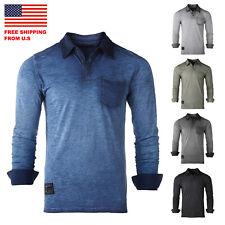 Zimego Mens Long Sleeve Vintage Garment Oil Wash Color Dyed Pocket Polo Shirts