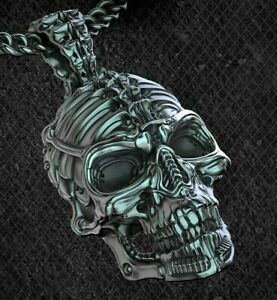 Biomechanical Skull Pendant necklace oxidized 925 silver biker rider Gift Men