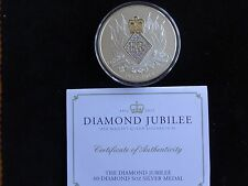 2012 FINE SILVER PROOF 5OZ BRITANNIA 60-DIAMOND MEDAL BOX + COA QUEENS DIAMOND