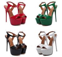 Peep-Toe Crossdresser Sandals Platform Drag Queen Mens Heels Red Stiletto Shoes