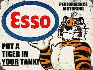 Esso Tiger Vintage fuel Garage Sign Motor Workshop Petrol man cave Shed Plaque