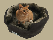 Padded Pet Lounge, Dog and Cat Bed, Pet Basket, Faux Suede, Plush Lining - Brown
