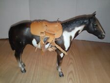 """BREYER Horse with Leather Saddle 12"""" x 9"""" Brown and White"""