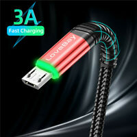3A Micro USB LED Fast Quick Charging Data Sync Cable For Samsung HTC LG Android