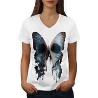 Wellcoda Butterfly Skull Face Womens V-Neck T-shirt, Bone Graphic Design Tee