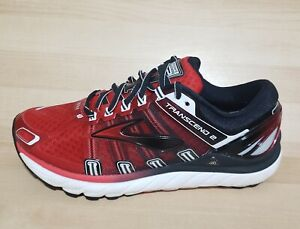 Mens BROOKS Transcend 2 Running Shoes Size 8 Athletic Sneakers adrenaline Red