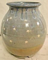 Vintage Studio Art Pottery Jug Vase Blue Glazed Star Pattern Stamped Pottery
