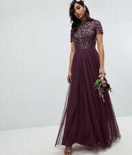 MAYA HIGH NECK MAXI TULLE SEQUIN BRIDESMAID MAXI DRESS BERRY/PURPLE ASOS RRP £85