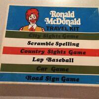 1974 Ronald McDonald McDONALDS Travel Car Kit Game Vintage INCLUDES POSTCARDS