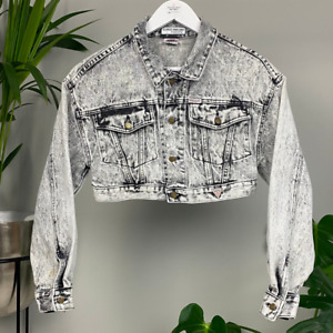 Georges Marciano for Guess Cropped Black Acid Wash Denim Jacket