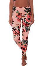 Sexy Pantaloni aderenti Stampa Floreale Casual Party Floral Stretchy Leggings M