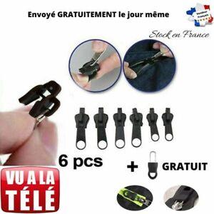 Kit 6 Zippers Réparation Fermeture Éclair Rapide Noir Zip+1 Tirette Gratuite  FR