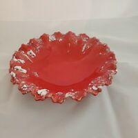 """8"""" Vintage Red Ceramic AshtrayTrinket Dish Retro Boho"""