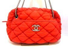 Auth CHANEL Bubble Quilt A46168 Red Chemical Fiber Shoulder Bag