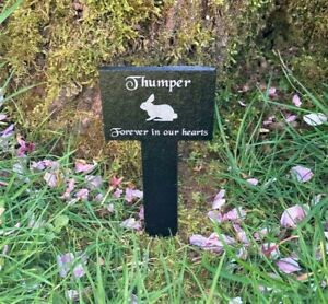Personalised Engraved Small Pet Memorial Slate Stake Grave Marker Plaque Rabbit