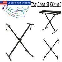 Piano Keyboard X Stand Electric Organ Rack Folding Metal Height Adjustable Black