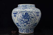 Larger Rare Beautiful  Chinese Blue and white porcelain Dragon Vase  Jar Pot