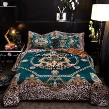 Luxury Flannel Classic Leopard Print Bedding Sets Warm Fleece Soft Duvet Cover