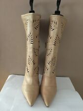 Faith Ladies Light Natural Tan Leather Laser Cut Mid Calf Boots Used Size 7