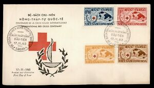 DR WHO 1963 VIETNAM FDC RED CROSS CACHET COMBO  f91412