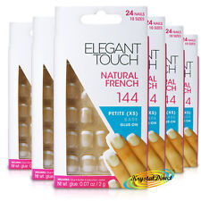 6x Elegant Touch Natural French Manicure 144 XS Glue On False Artificial Nails