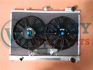 Aluminum Radiator + FAN For NISSAN Pintara Skyline R31 1986-1993 86 87 88 89 MT