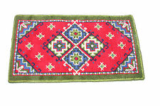 "Nice British Arts and crafts handmade wool rug in multi green and red 4'7""x2'6"""