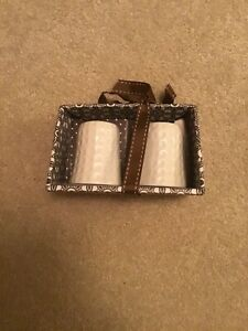 Ceramic Round White Salt and Pepper Shakers - NEW