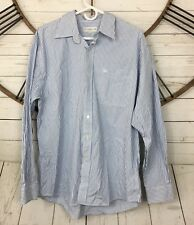 Cutter & Buck Button Down Shirt Mens Size Large Blue White Striped Collared