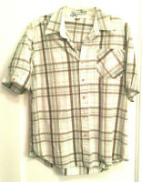 Redsand Men's Shirt *Brown And Tan Plaid Size Large Pocket