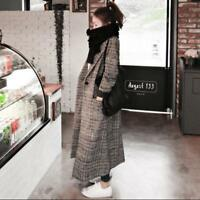 Womens Grid Wool Blend Full Length Slim Fit One Button Long Parka Coat Jacket