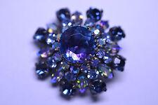 VTG AUSTRIAN CRYSTAL PURPLE-BLUE & LIGHT BLUE AB ROUND & NAVETTE RHINESTONE PIN