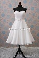 1329 short tea length knee informal wedding dresses bridal gown chiffon vintage