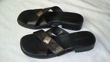 Womens Minnetonka Black Leather Criss Cross Slide Sandals-8