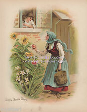 Little Snow Drop-White-Apple-Witch-Fairy Tale-1902 ANTIQUE VINTAGE PRINT-Picture
