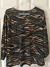 Jones New York Scoop-neck Browns/Black Geo Print Top Size 1X
