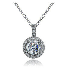 Sterling Silver Cubic Zirconia Halo Necklace