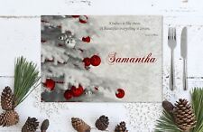 Personalised Laminated Silver & White Christmas Tree Table Place Mat