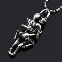 Charm Men Infinity Tibet Silver Black Stainless Steel Skull Pendant Necklace