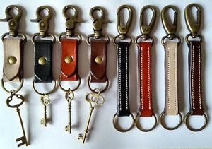 LEATHER KEYRING*Keys Fob*Artisan Crafted & Stitched*Handmade*Metal Belt Bag CLIP