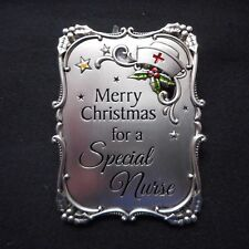 "NEW Mini Plaque/Ornament ""Merry Christmas for a SPECIAL NURSE"", from Ganz"