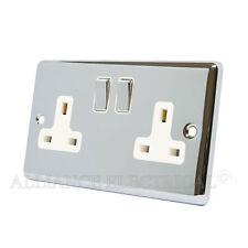Polished Chrome Classical 2 Gang Socket 13 Amp Double Wall Plug Socket Outlet