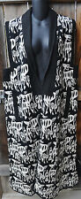 ART TO WEAR LINED WOVEN COTTON LONG TRIBAL VEST IN BLACK & WHITE BY SAM HILU,S/M