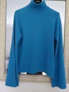 Johnstons Cashmere 100% Scottish kingfisher blue kimono sleeve roll neck 36UK