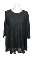 Joan Rivers Women's Plus Size 1X Black Lace Tunic Top 3/4 Sleeves Lined Party