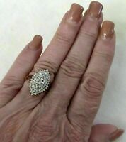 1.50 CT Round Cut Diamond 14K Yellow Gold Over Women's Cluster Pretty Ring