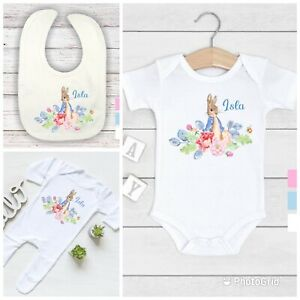 💕 Personalised floral Peter rabbit baby girl bib vest grow any name,baby shower