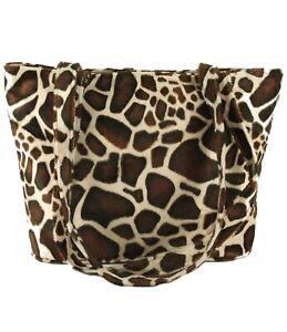 Womens Leopard Faux Fur Tote/Shoulder Bag