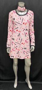 KATE SPADE NEW Pink Makeup Dream A Little Dream Long Sleeve Sleep Shirt sz S